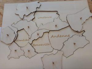 Réalisation d'une carte-puzzle de la commune d'Andenne, pour une école